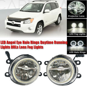 LED Fog Light Kit Angel Eye Rings DRL Daytime Running Lamp Fit For Toyota RAV4
