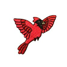 ID 0603 Flying Cardinal Patch Nature Bird Spring Embroidered Iron On Applique