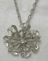 Vintage Silver Tone Large Rhinestone Pendant Necklace/Brooch