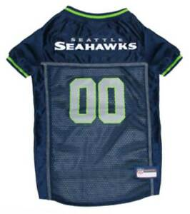 Pets First NFL Seattle Seahawks Screen Printed Mesh Dog Jersey - Navy/Green