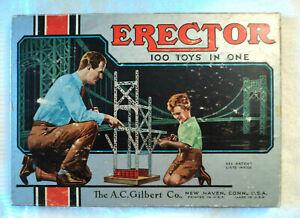 Vtg 1953 AC Gilbert The Builder's Erector Set No. 1 1/2 Complete w Manual USA