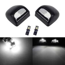 2 Black License Plate Light Lens + White LED Bulbs for Silverado Sierra Tahoe