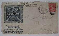 1898 Masonic Accident Assn. Westfield, MA Assessment Notice Collector's Voucher