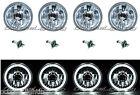 "5-3/4"" White LED Halo Halogen Light Bulb Headlight Angel Eye Crystal Clear Set"