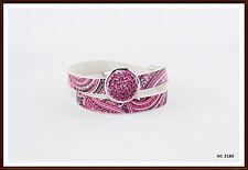 Druckknopf  Click Leder Wickelarmband pink passend für Chunk & Noosa