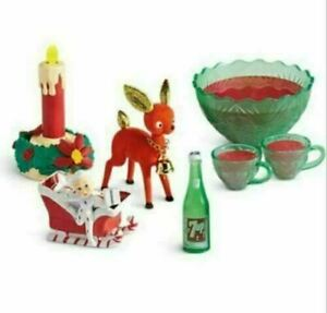 NIB ~ American Girl Maryellen's Party Punch Set ~ Holiday Deer Sleigh Candles