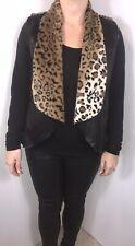 Gilet Black Leopard Print Faux Fur Faux Leather Reversible Soft Luxurious NEW
