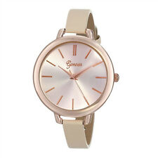 Large Dial Fashion Womens Watch Gold Dial Leather Thin Band Analog WristWatches