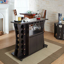 Bar Wine Rack Furniture Cabinet Modern Entertaining Storage Portable Pub Bottle