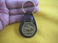 (Md-41-C) Wolf Wolves Bronze Coin Medallion oval burgundy Leather Key Ring Fob