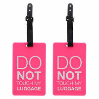 "Luggage Tag Silicone Pink ""Do Not Touch My Luggage"" Kids 2 Suitcase Travel Tags"