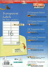 Decadry OLW-4840 Transparent Labels Blank Address Labels For Laser Printers