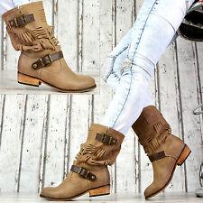Neu Damen Stiefeletten Flach Boots mit Lochmuster Schnallen Damenschuhe 36-41