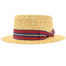 Unisex Maize Straw Stripe Band Porkpie Boater Derby Fedora Sun Hat Natural 7-1/4