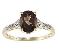 10k Yellow Gold Oval Smokey Quartz and Diamond Ring (1/10 TDW)