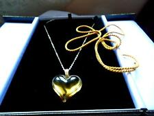 PENDANT LALIQUE LARGE AMBER HEART GOLD CHAIN SILK CORD OUTSTANDING