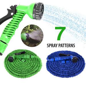 25-150FT Long Retractable Expandable Magic Garden Hose Pipe With Spray Gun UK