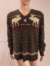 Polo Ralph lauren Cotton knit Sweater nordic Moose flakes XL pre-owned Linen vtg