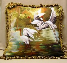 "22"" Wool PetitPoint Pillows 15K Needlepoint OVER $200 VALUE"