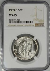 1939-D Walking Liberty Half Dollar NGC MS 63 No Reserve Auction 99C Opening Bid