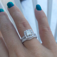 2 Ct Diamond  Engagement Ring Set  Fine 14K White Gold Size M VVS1/D
