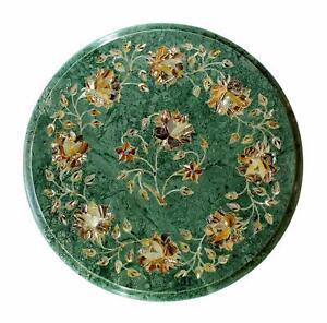 "12"" Green Marble Table Semi Precious Stone Inlay Handicraft art Work"