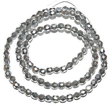 """CZ2138 Silver Metallic 4mm Fire-Polished Faceted Round Czech Glass Bead 16"""""""