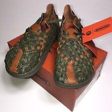 MALIBU MISSONI Men's 11 Sandals Woven Olive Brown Leather Rubber Sole Closed Toe