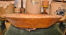 "BEST Primitive Antique 1800's Carved Wood Trencher Dough Bowl 24""x16""x5.5"" AAFA"