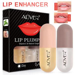 2Pcs Lip Booster Plumper Lips Gloss Long Lasting 3D Sexy Big Pump Moisturizing