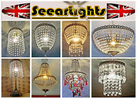 ANTIQUE BRASS CHANDELIER LIGHT CEILING PENDANT RETRO CRYSTALS GLASS LAMP DROPS