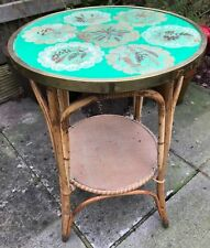 Vintage Rattan Bamboo Boho Coffee Side Table Round Glass Top Pressed Flowers