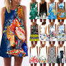 Women Sleeveless Summer Boho Print Beach Casual Loose Mini Shirt Beach Sundress
