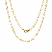 """14K Yellow Gold 2.5mm Diamond Cut Pave Curb Cuban Chain Necklace Chain 16""""- 26"""""""