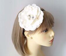 Beautiful large ivory - cream fabric flower & diamante elasticated headband