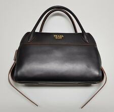 PRADA BAULETTO I City Calf NERO Handbag 1BB030 Ribbon Bowling Bag