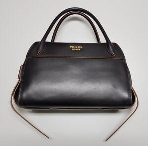 NEW PRADA Bauletto I City Calf Nero Handbag 1BB030 Ribbon Bowling Bag RRP $3270