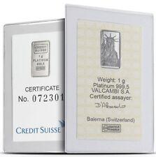 CREDIT SUISSE MTB Platinum LIBERTY 1 Gram Bar . 9995 Fine NEW IN VALCAMBI ASSAY!