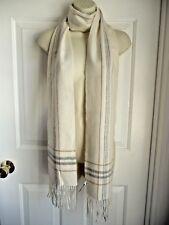 "Ann Taylor Scarf 100% Cashmere White Grey Brown Plaid Woven Slim 7.2""x78""+Fringe"