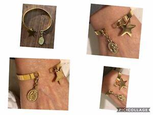 Jonc Large Charms Médaille Vierge Marie Et Étoile Acier Inoxydable OR Réf Gigi5