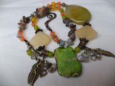 BOHEMIAN Boho Gemstones MEDLEY NECKLACE Jade Agate Peridot Onyx Bronze charms