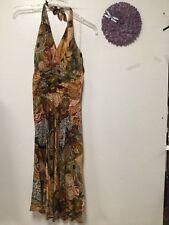 Ladies party dress size 10 brown beige colorful rayon Studio 1940 bra top 108