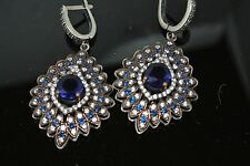 TURKISH OTTOMAN VICTORIAN 925 SILVER 0.5 CARAT SAPPHIRE PEAR HURREM  EARRINGS