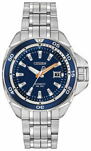 Citizen Signature Grand Touring Automatic Steel Blue Dial Mens Watch NB1031-53L