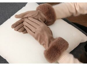 Winter Warm Suede Leather Gloves for Women Faux Rabbit Fur Velvet Thick Gloves