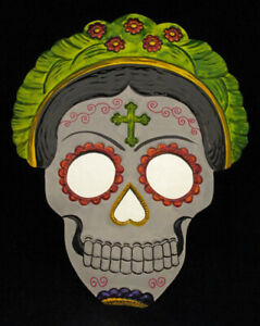 "Tin Skull Mirror 12"" Abuela"