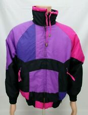 Ski Lion Womens Vintage Retro Winter Ski Jacket Coat Size Medium Pink Purple 80s