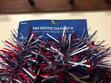 2 PATRIOTIC CHUNCKY TINSEL GARLAND 9 FT RED  WHITE BLUE WITH FLAG ACCENTS NWT