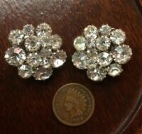 Vintage Silver Tone Clear Crystal Rhinestone Clip On Earrings Retro Cluster