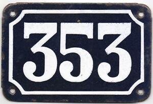 Old blue French house number 353 door gate plate plaque enamel steel metal sign
